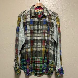 Robert Graham men's embroidered button front shirt